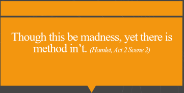 quote box that reads Though this be madness, yet there is method in't. (Hamlet, Act 2 Scene 2)