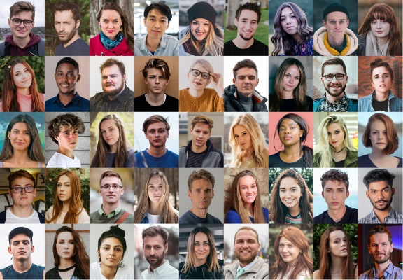 A collage of images of 45 students facing the camera. The majority of the students are white, with minimal diversity.