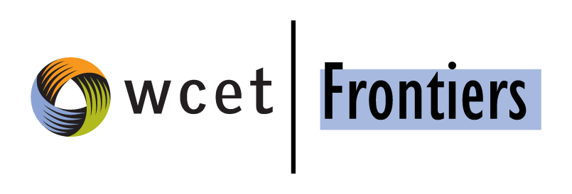 The wcet Frontiers logo - says wcet with a circle icon, with a line, and the word frontiers highlighted in light blue.