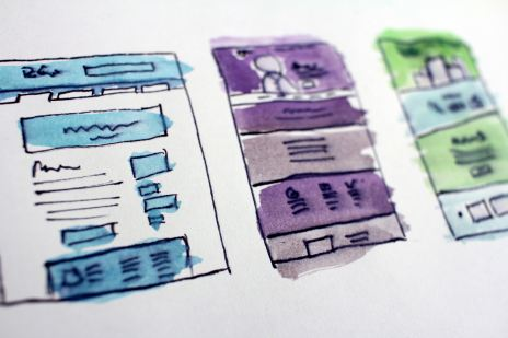 hand drawn website mockup images