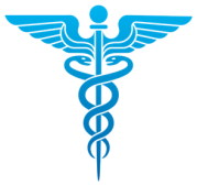A blue Caduceus as a symbol of medicine