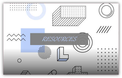 the word resources on a box of various graphics