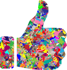 a hand with thumbs up in multi color