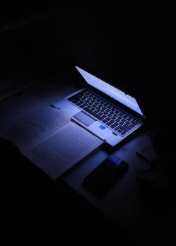 A laptop in the dark