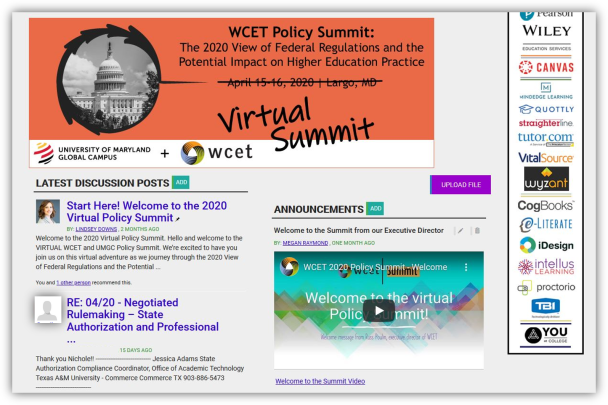 Example of the Summit virtual platform. Shows two example discussion posts, the welcome video from the WCET executive director, and the summit logo.