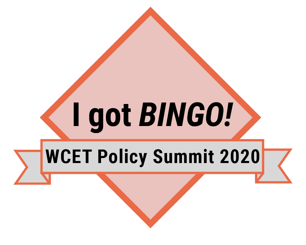 Example badge in MIX reads I GOT BINGO WCET Policy Summit 2020