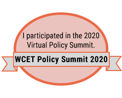 Participation badge for the WCET Policy Summit 2020