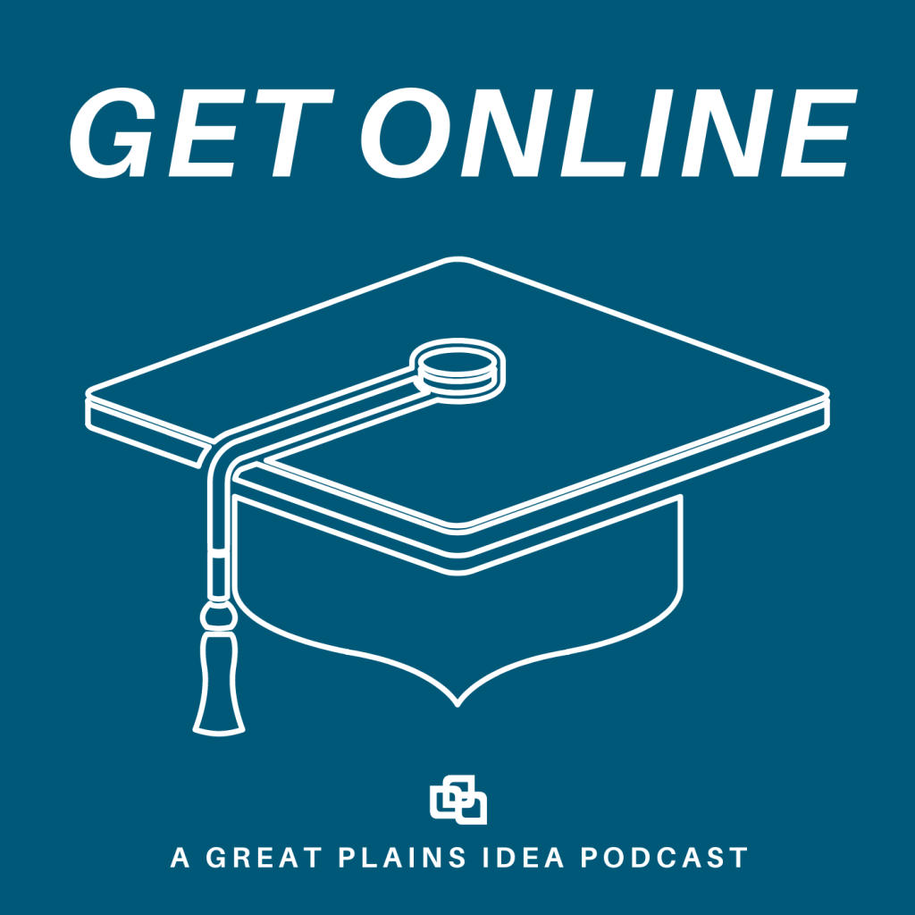 Get online logo with a graduation cap on a blue background.