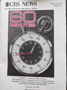 Cover of the transcript. shows the 60 minutes logo and the name of the segment (Online U)